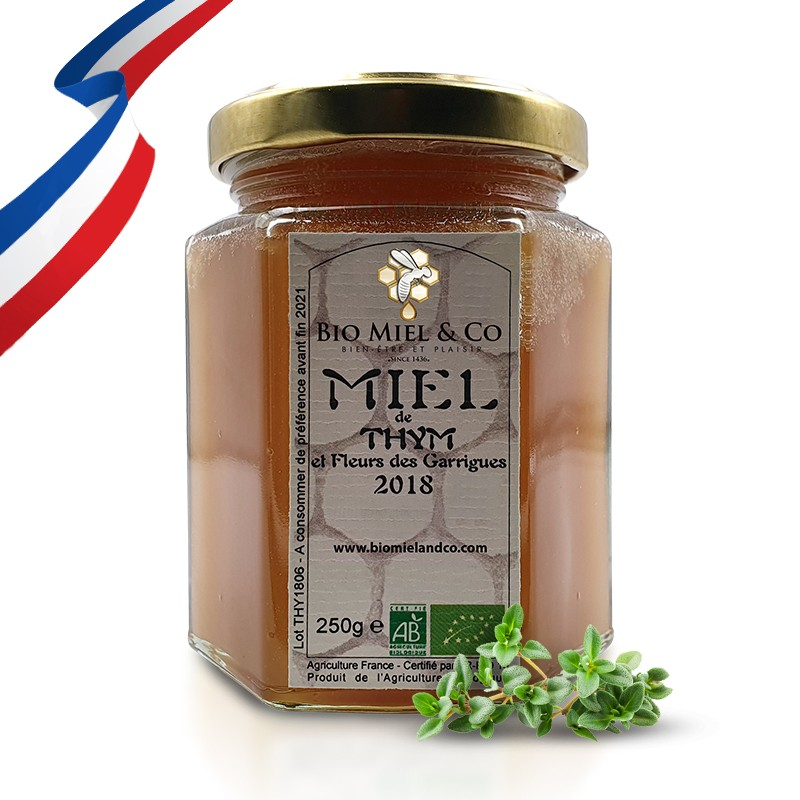 MIEL DE THYM ET FLEURS DES GARRIGUES certifié AB BIO de France (Aude)