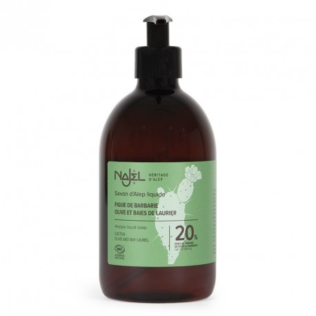 Savon d'Alep liquide 20% huile de figue de Barbarie certifié Cosmos Natural - 500 ml